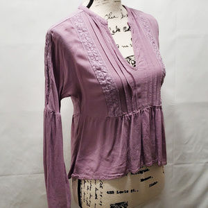 Chloe & Katie Ruffle Purple Retro Hippie Blouse